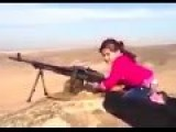 Little Kurdish Girl Shoots Huge Machine Gun
