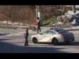 Lady Jumps On P 227d Olice Car And Tries To Break Windsheld