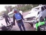 Lada Scores A Triple Play On Bikers In Russia