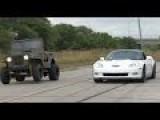 LSX Willy's Jeep Vs. Corvette ZR1, Honda CBR 600, Porsche Cayman R