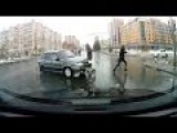 Lucky Russian Girls Escaped From Car Hit