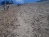 Little Girl Faceplants Downhill Sand Dune