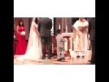 Little Kid High Fives The Priest During Wedding Ceremony