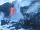 Lava Flowing Into The Pacific Ocean On Hawaii