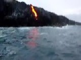 Lava Falling Into The Ocean