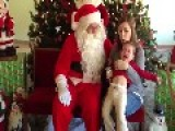Little Girl Cries On Santa's Lap