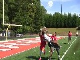 League Football Player Jarius Jordan Reaches For An Incredible Catch
