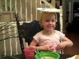 Little Girl Has Too Much Fun At The Dinner Table