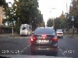 Lucky Motorcyclist Almost Run Over By Car