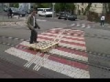 MAN Rides Trolley Tracks == With Homemade Skateboard