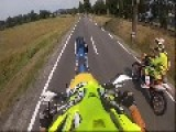 Motorcyclist Loses Control During Stunt
