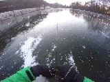 Man Glides Over Ice