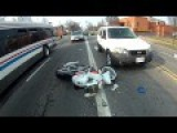 Motorcyclist Confronts Driver After Accident In Packed Intersection