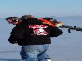 Man Uses Leaf Blower To Skate Across Ice