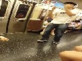 Man With Headphones Dances On The Subway