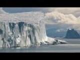 Massive Iceberg And Mama Polar Bear With Adorable Cub