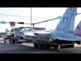 Moving A F-15C Fighter Jet With Semi-trailer Truck