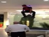 Man Dummy Jumps Into Hotel Fish Tank For A Swim