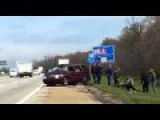 Minivan Drives Off The Highway And Flips