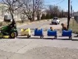 Man Drives Canine Companions In Home-Made Train