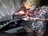 Man Smoking Through Jaguar Morphsuit