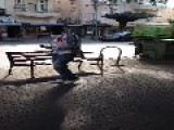 Man Tripping And Breakdancing In TLV Israel