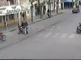 Motorcycle Runs Over Baby Carriage