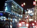 Moment Truck Drives Thru Weihnachtsmarkt In Berlin Germany