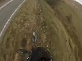 Motorcyclist Flies Off 40 Ft Cliff To Avoid Head On Collision