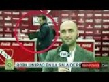 Man Steals A Tablet On Camera At Atletico Independiente Press Room