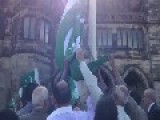 Muslims Raise The Flag Of Pakistan Over Rochdale Town Hall, England