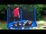 Midget Kid Fall Out Of Trampoline And Other Kid Is A Sissy
