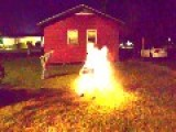 Men Play With Fireworks In BBQ Grill