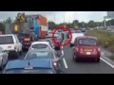 Moment Trucker Gets Out Of Cab On Busy Motorway To Shout At Driver