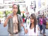 Man Goes Crazy Rips Off Shirt During Street Interview In Downtown Toronto