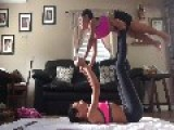 Mother-Daughter Try To Do Yoga