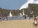 Monster Waves Crashing Into Resort Beach