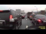 Motorcyclist Lane-Splitting And Crashing