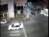 Motorcycle Shocked By Auto