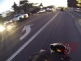 Motorcycle Running From Cops, Crashes Into Curb - Instant Karma