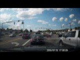 Motorcycle Gets Rear Ended At Stop Light