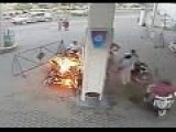 Man Starts Fire On Gas Pump Using Cell Phone