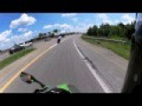 Motorcycle Crashes Into A Truck On The Freeway