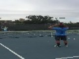 Man Makes Attempt At Iconic Tennis Trick