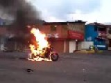 Motorcycle Catches Fire