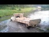 Military-Truck Swim In A Deep Waters