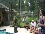 Newlyweds Take A Dip In A Pool