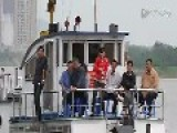 North Koreans On Boat Tour Yalu River On National Day