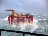 North Sea Drilling Rig During Extreme Weather Conditions