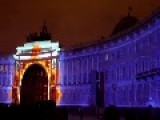 New Year Christmas Light Show Of Palace Square Saint Petersburg